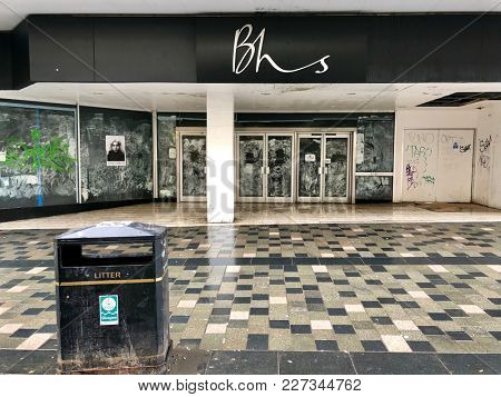 GLASGOW - FEBRUARY 19, 2018: Derelict shop space once occupied by British Home Stores (BHS), a department store which went into liquidation in 2016, on Sauchiehall Street in Glasgow, Scotland, UK.