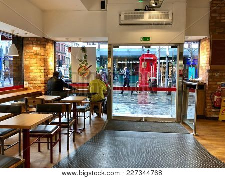 GLASGOW - FEBRUARY 19, 2018: Interior entrance of Pret a Manger on Sauchiehall Street, Glasgow, Scotland, UK.