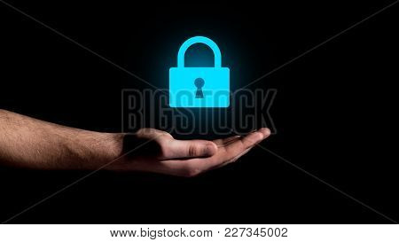 Hand Showing On Lock Concept Security Icon