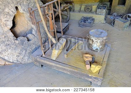 Roussillon, France - September 1, 2016: A Workshop Roussillon Ocher Factory Where Was Treated Ore To