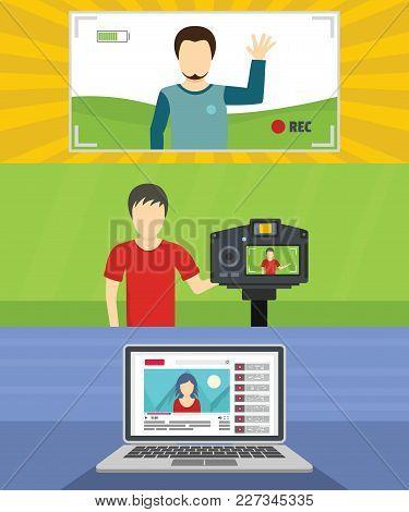 Video Blog Channel Banner Concept Set. Flat Illustration Of 3 Video Blog Channel Vector Banner Horiz