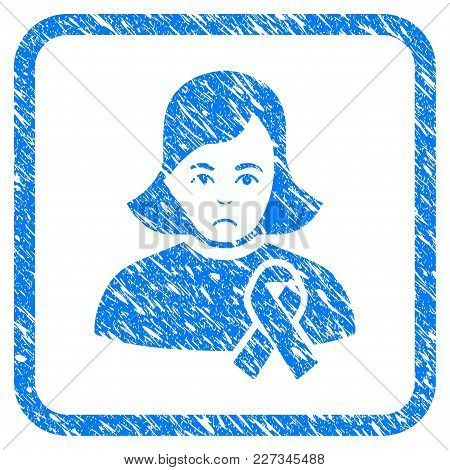 Girl With Sympathy Ribbon Rubber Seal Stamp Imitation. Icon Vector Symbol With Grunge Design And Dus