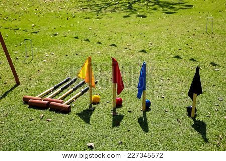Croquet Set In A Garden On A Sunny Afternoon