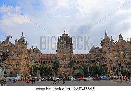 Umbai India - October 11, 2017: Mumbai Cst Train Station Historical Architecture Mumbai India