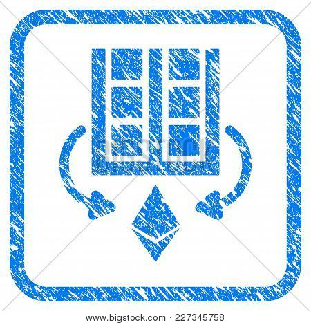 Ethereum Mining Farm Rubber Seal Stamp Watermark. Icon Vector Symbol With Grunge Design And Dirty Te