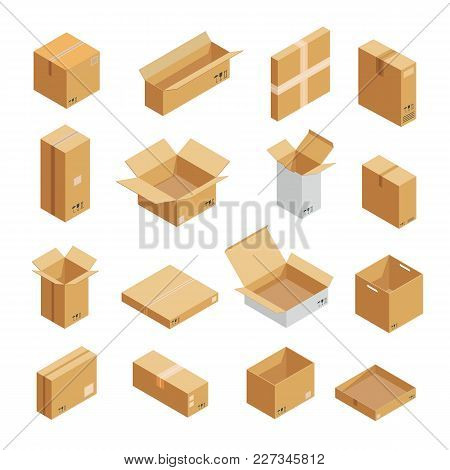 Parcel Packaging Box Icons Set. Isometric Illustration Of 16 Parcel Packaging Box Vector Icons For W