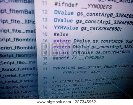 Screen Of Programming Codes Of Mobile Application Development
