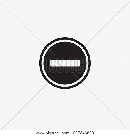 Icon Graphic Pattern Minus Sign. Black And White Pictogram For Web Design. Vector Flat Illustrations
