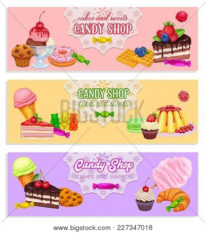 Vector Banners Confectionery And Sweets Icons. Donut And Cotton Candy, Muffin, Waffles, Biscuits And