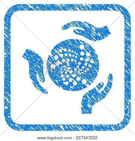 Iota Care Hands Rubber Seal Stamp Imitation. Icon Vector Symbol With Grunge Design And Unclean Textu