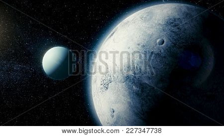Solar System - Space Satellite Ariel. It Is The Eighth And Farthest Planet From The Sun In The Solar