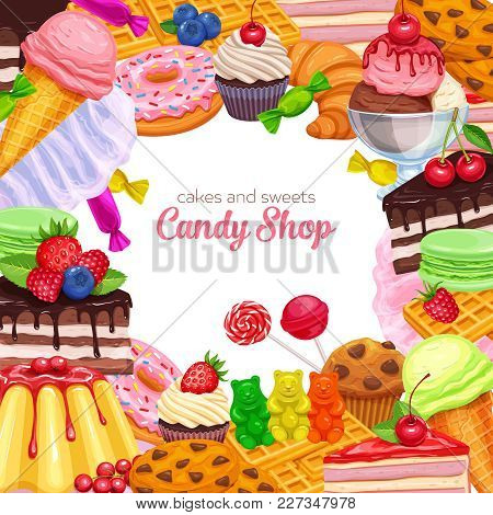 Vector Page Design Frame Confectionery And Sweets Icons. Donut And Cotton Candy, Muffin, Waffles, Bi