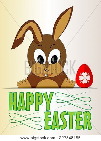 Cute Easter Bunny With Red Egg, Cartoon On Old Beige Paper, Green Title Happy Easter, Vector Eps 10