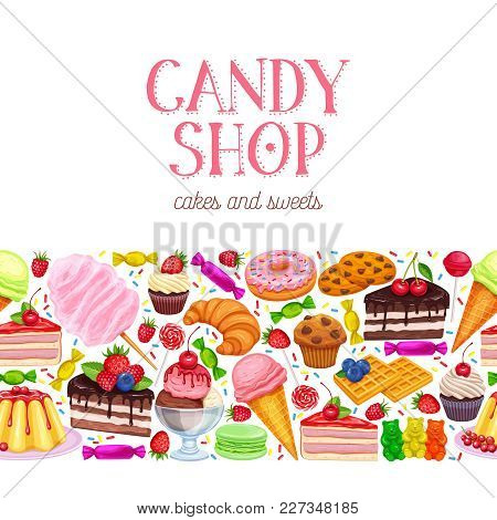 Vector Seamless Border Confectionery And Sweets Icons. Donut And Cotton Candy, Muffin, Waffles, Bisc