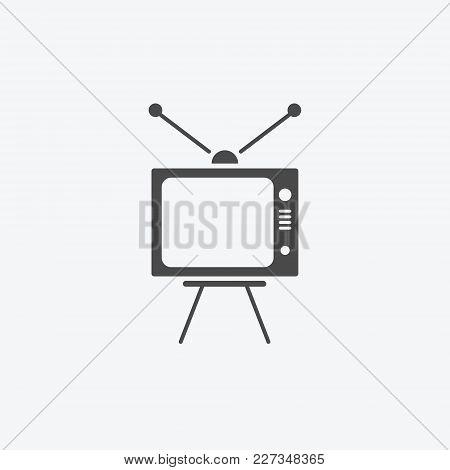 Icon Graphic Tv, Media Propaganda. Black And White Pictogram For Web Design. Vector Flat Illustratio