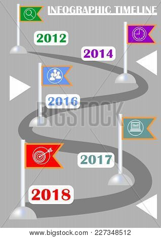 Infographic Timeline Template, Abstract Vector With Five Flag Elements, Icons And Copy Space, Gray B