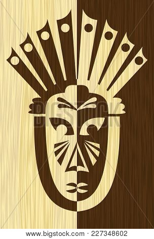 Wood Art Inlay Tile With Inverse Carved Face Mask, Tribal African Motif, Light And Dark Wood, Vector