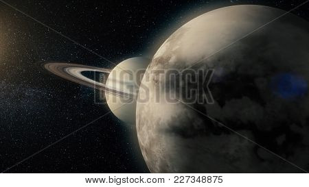Saturn And His Ring System. View Of Saturn From Titan. Titan Saturn Moon.