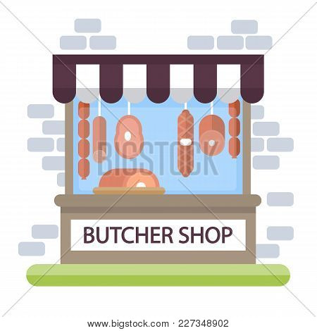 Butcher Shop Storefront. Building Exterior With Products.