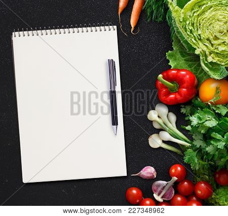 Mockup For Healthy Dish Recipe. Fresh Juicy Vegetables Border, Blank White Notepad With Copy Space A