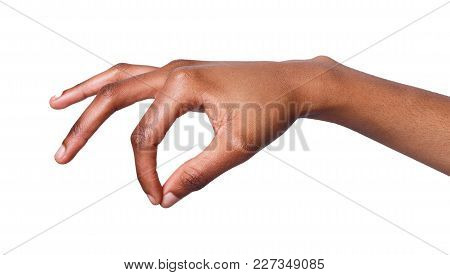 Female Hand Picking Up Some Items On White Isolated Background, Cutout, Copy Space