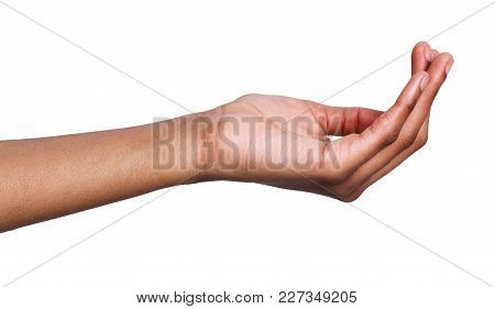 Outstretched Black Female Hand, Woman Keeping Empty Palm, Taking Or Offering On White Isolated Backg
