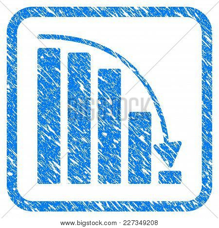 Falling Acceleration Chart Rubber Seal Stamp Imitation. Icon Vector Symbol With Grunge Design And Un