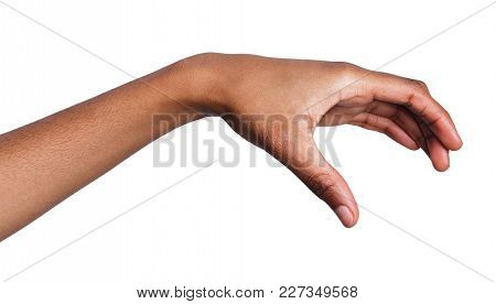 Black Female Hand Grab Or Take Some Items On White Isolated Background, Cutout, Copy Space