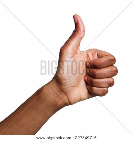 African-american Female Hand Making Thumb Up Gesture. Closeup Of Positive Sign, Like, Agreement Conc