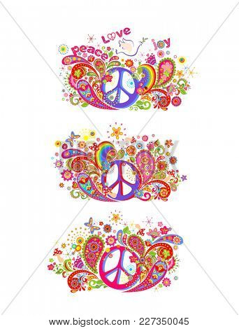 Colorful t shirt prints collection with hippie peace symbol, flying dove with olive branch, abstract flowers, mushrooms, paisley and rainbow on white background
