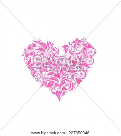 Beautiful pink floral heart for greeting design