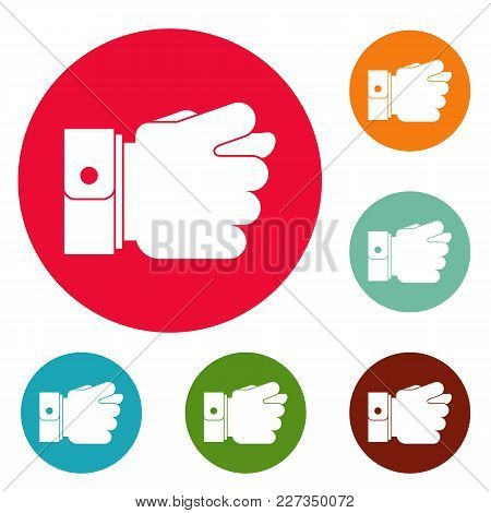 Hand Greed Icons Circle Set Vector Isolated On White Background