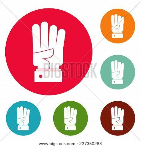 Hand Four Icons Circle Set Vector Isolated On White Background