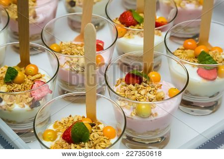 Breakfast Yogurt With Berries And Muesli In A Glass