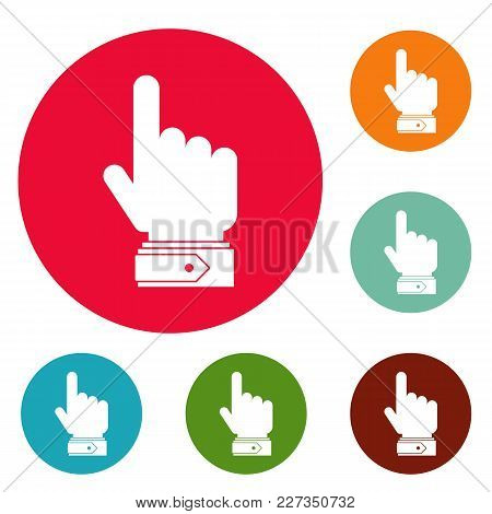 Hand Direction Icons Circle Set Vector Isolated On White Background