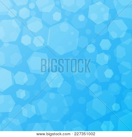 Blue Geometric Abstract Techno Background With Hexagons. Template Wallpaper Design. Simple Gradient