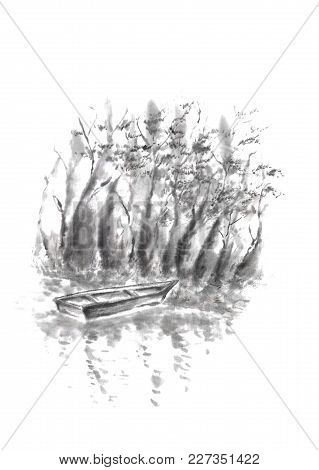 Japanese Style Sumi-e Boat At Riverbank Ink Painting. Great For Greeting Cards Or Texture Design.