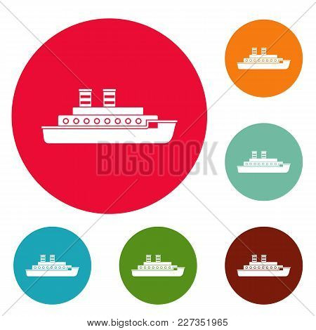 Steamship Icons Circle Set Vector Isolated On White Background