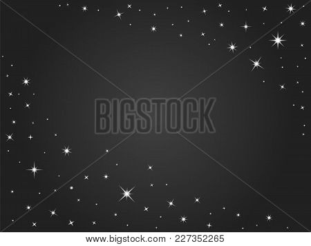 Space Stars Vector Background , Black Night Sky. Vector Outer Space Backdrop With Place For Text