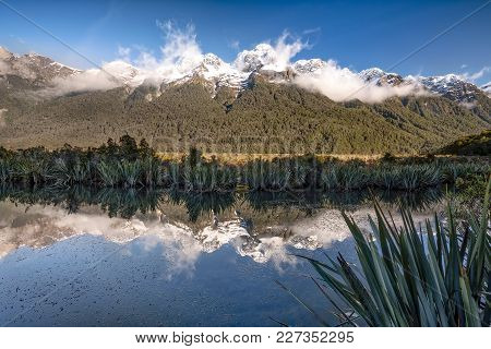 Mirror Lake Along The Te Anau-milford Sound Highway In Southland, New Zealand.