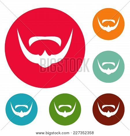 Mustache Icons Circle Set Vector Isolated On White Background