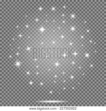 Vector Set Of Stars,white Flares Effect On Transparent Background. Star Burst With Sparkles. Lightin