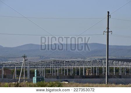 Under Construction Hangar. Metal Frame Of The Building