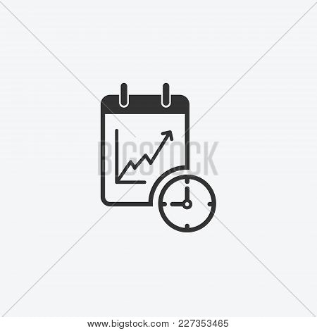 Icon Graphic Growth Chart, Notepad. Black And White Pictogram For Web Design. Vector Flat Illustrati