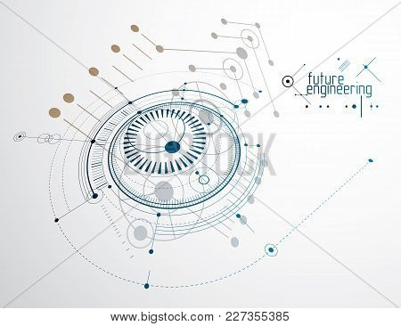 Engineering Technology Vector Backdrop Made With Circles And Lines. Technical Drawing Abstract Backg