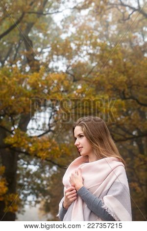 Beautiful Young Woman In Scarf In Autumn