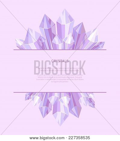 Crystals Of Purple Color, Poster And Image Of Precious Stones, Informational Editable Text And Headl