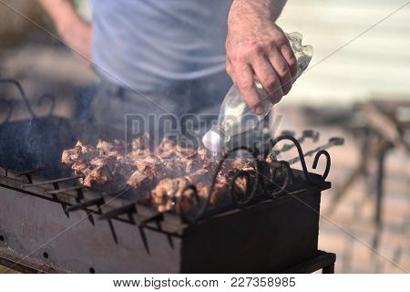 The Kebabs Are Cooked Outdoors In Summer
