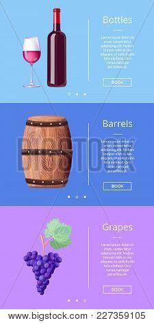 Bottles Barrels Grapes Web Poster With Button Book Now Vector Illustration In Winemaking Concept. As