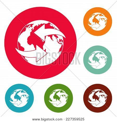 Moving Earth Icons Circle Set Vector Isolated On White Background